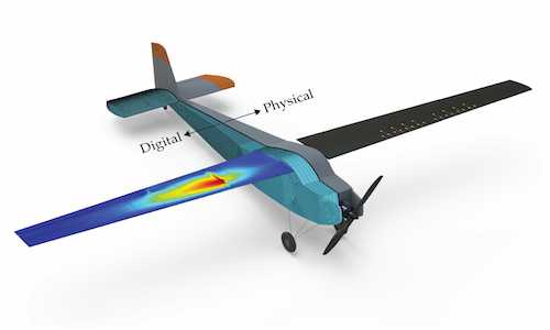 An illustration of a physical aircraft co-developed by researchers to test digital twin technology.